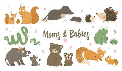 Vector set of hand drawn flat baby animals with parents. Funny woodland animal scene showing family love. Cute forest animalistic illustration for Mother's Day design.