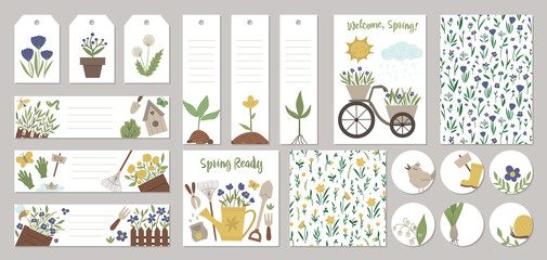 Set of vector spring garden card templates, gift tags, labels, pre-made designs, bookmarks with cute cartoon gardening elements and characters. Funny flat illustration.