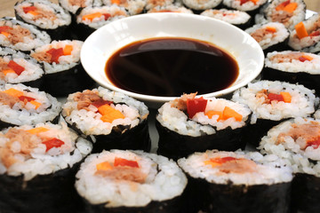 Close up of many sushi slices served on white plate with soy sauce