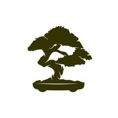 Bonsei logo vector design template, Silhouette Bonsei logo, Illustration