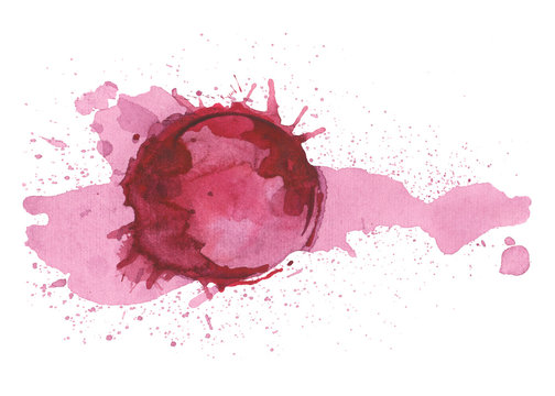 Red wine stain isolated on white background. Watercolor grunge background.