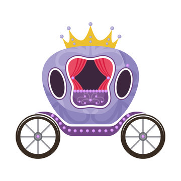 Violet fairytale royal carriage on a white background