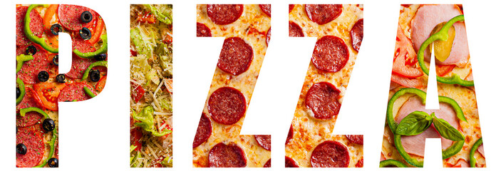 Word pizza with texture pattern of different pizzas for each letter.Concept for restaurants, posters, banners, advertisements and blogs. Isolated on a white background.