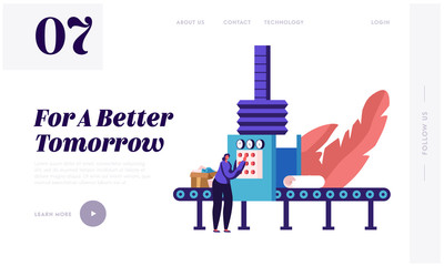 Garbage Manufacturing Website Landing Page. Paper Wastes Recycling Technological Process. Worker Select and Sort Carton Litter at Factory Conveyor Web Page Banner. Cartoon Flat Vector Illustration