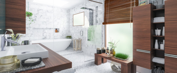 Panorama of a Luxury Bathroom - 3d visualization