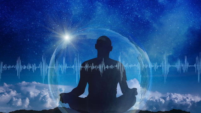 Yoga cosmic space meditation illustration, silhouette of man practicing outdoors at night