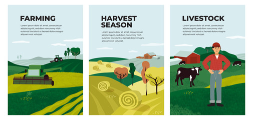 Set Of Posters With Farming Livestock Harvest Season Illustrations Of Hay Hayfield Agricultural Landscapes Combine Harvester And Tractor On Field Farmer And Cows On Farm Vector Banner Cover Buy This Stock