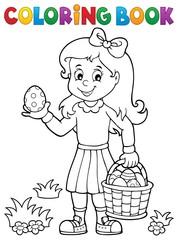 Türaufkleber Für Kinder Coloring book girl with Easter eggs 1