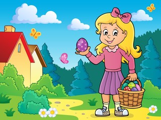 Türaufkleber Für Kinder Girl with Easter eggs theme image 4