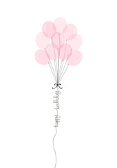 Happy Birthday handwritten inscription with bunch of pink balloons. Hand drawn party lettering. One line calligraphic text. Vector illustration