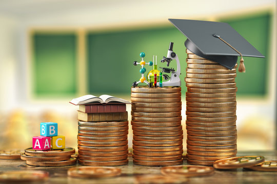 Education costs depending on level of school and university. Scholarship, education loan, investment in knowledge concept, Graduiation cap on coins.