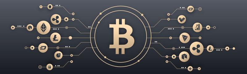 Bitcoin and crypto currency illustration, Blockchain, cryptomonnaie
