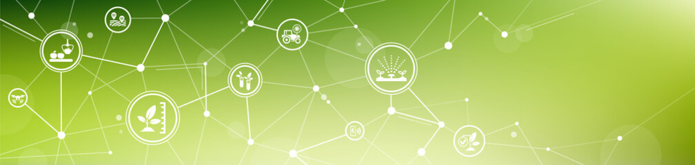 smart farm or agritech vector illustration. Banner with connected icons related to smart agriculture technology, digital iot farming methods and farm automation. Fototapete