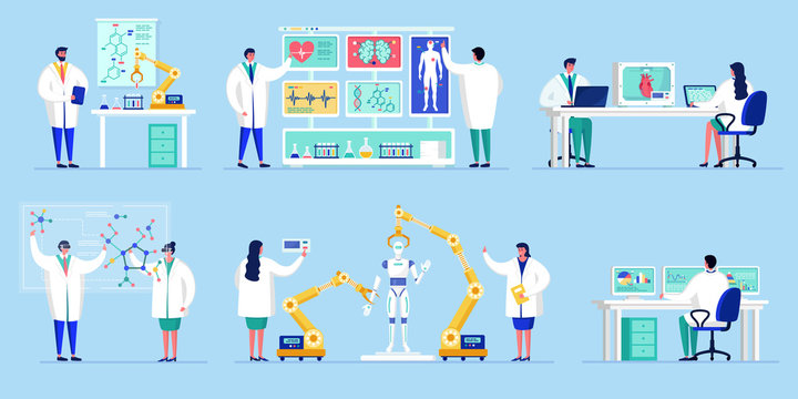 Innovation in science technology, people work in novative laboratory with artificial intelligence research vector illustration. Scientists in innovative lab in genetic and robotic engineering.
