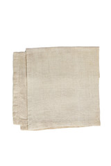 natural color linen serviette isolated  on a white background