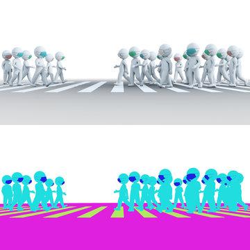 Mask stickman walking on intersection pedestrian crossing full body 3D rendering