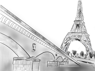 Wall Mural - hand drawing of Eiffel tower in Paris, street - illustration