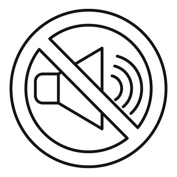 No sound speaker icon. Outline no sound speaker vector icon for web design isolated on white background
