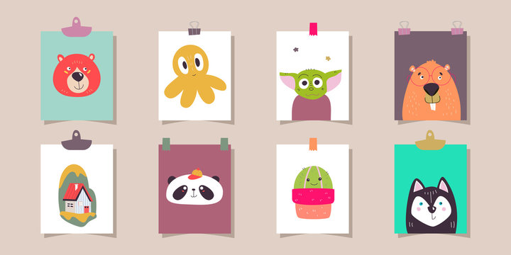 Set of cute animals on paper stickers. Bear, yoda, panda, house, husky, beaver, cactus and octopus. All objects isolated.