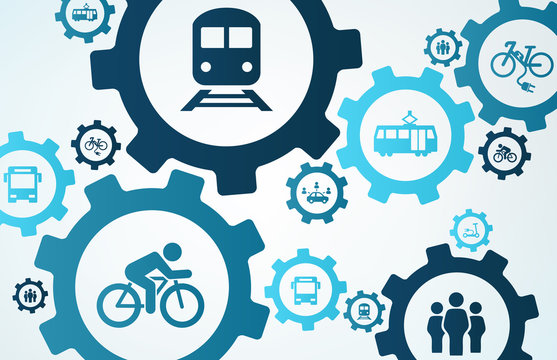 new mobility vector illustration. Concept with connected icons related to modern individual transport alternatives, alternative urban transportation or emission reduction..
