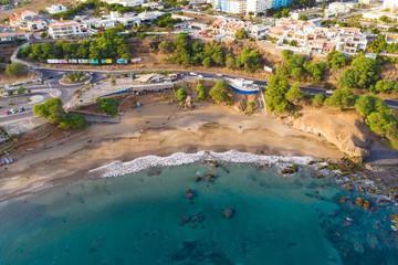 Aerial view of Kebra Kanela - Quebra Canela beach in Praia  - Santiago - Capital of Cape Verde Islands - Cabo Verde