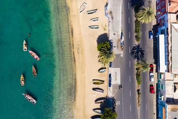 Aerial view of Mindelo beach in Sao Vicente Island in Cape Verde