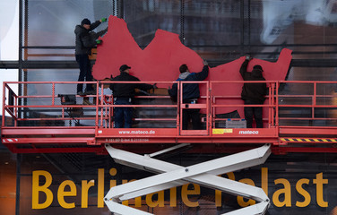 """Preparations of """"Berlinale Palast"""" for the 70th Berlinale International Film Festival in Berlin"""