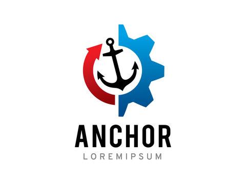 Anchor technology logo template design, icon, symbol