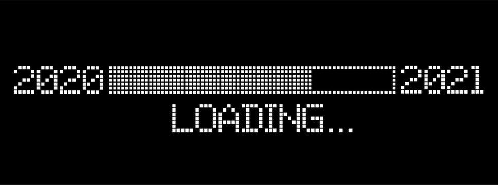 pixelated progress bar year 2020 to 2021 loading vector illustration