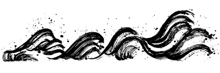 波しぶき 毛筆イラスト 手書き