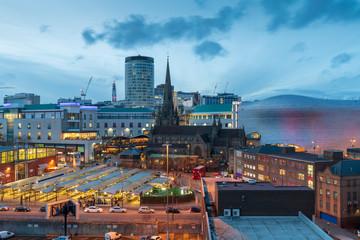 city skyline of Birmingham business district, West midlands, UK