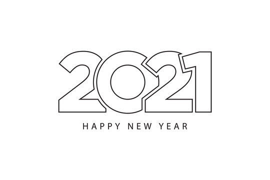 Simple style lines happy new year 2021 black white theme. Vector illustration.