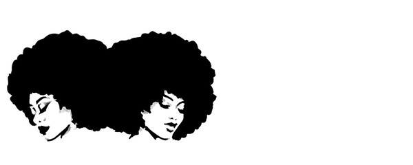 Natural big afro hair illustration