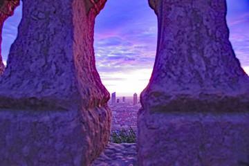 Poster Violet Vue cachée des tours de la Part Dieu, au petit matin