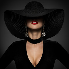 Fashion Model in Sexy Black Dress, Elegant Woman Beauty in Wide Broad Brim Hat covered face