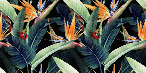 Obraz Seamless floral pattern with tropical leaves and strelitzia on red background. Template design for textiles, interior, clothes, wallpaper. Watercolor illustration - fototapety do salonu