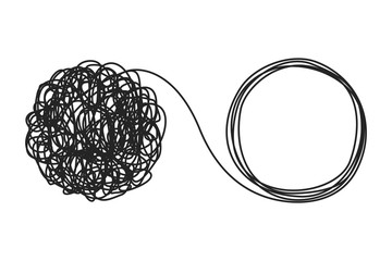 Unraveling tangled tangle. Psychotherapy concept. Metaphor of problem solving, chaos and mess, difficult situation. Psychologist unravels tangled tangle untangled. Vector illustration