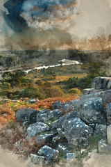 Printed kitchen splashbacks Khaki Digital watercolor painting of Stunning Autumn sunset landscape image of view from Leather Tor towards Burrator Reservoir in Dartmoor National Park