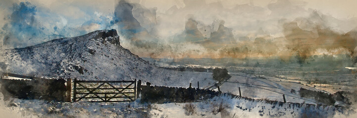 Digital watercolor painting of Stunning Winter panoramic landscape snow covered countryside with beautiful sky and clouds