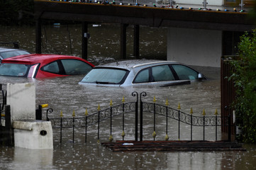 Cars underwater in Taff Wells, South Wales, Britain