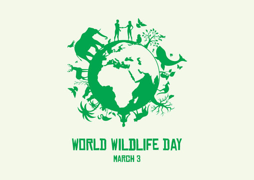 World Wildlife Day vector. Wild animals silhouette. Green planet vector. Planet Earth with fauna and flora vector. Environmental concept vector. Wildlife Day Poster, March 3. Important day