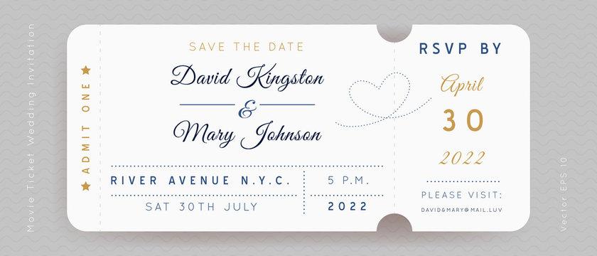 Movie Wedding Ticket Vector