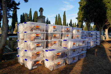 Boxes containing the remains of 245 people killed by the late Spanish dictator Francisco Franco's forces during the civil war are seen in Valladolid