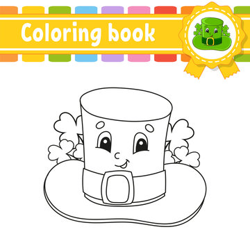 Coloring book for kids. Leprechaun hat. Cheerful character. Vector illustration. Cute cartoon style. Black contour silhouette. Isolated on white background. St. Patrick's day.