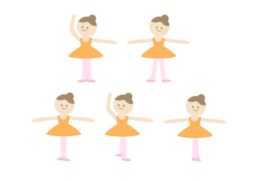 Cute Ballet Girl, Five Positions, Ballerina Vector Illustration