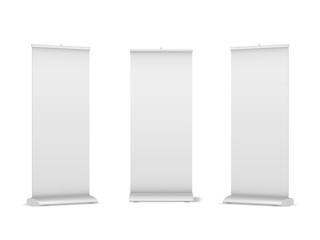 Set of blank roll-up, pop-up or pull-up banner stands Fototapete
