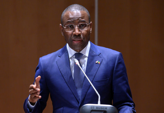 Senegal's Minister of Economy, Planning and International Cooperation Amadou Hott speaks before the signing of a memorandum of understanding (MOU) in Dakar
