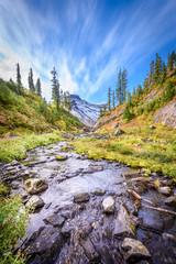 Fototapete - Beautiful Mountain River at the Bagley Lake Trail Park. Mount Baker, Washington, USA.