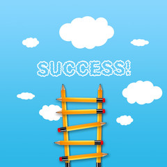 Blue sky with a ladder made of pencils and the word Success