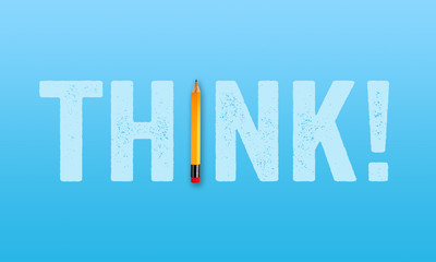 Pencil with word THINK on blue background metaphor for brainstorming